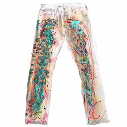 Vintage Paint Splattered White Levi 501's