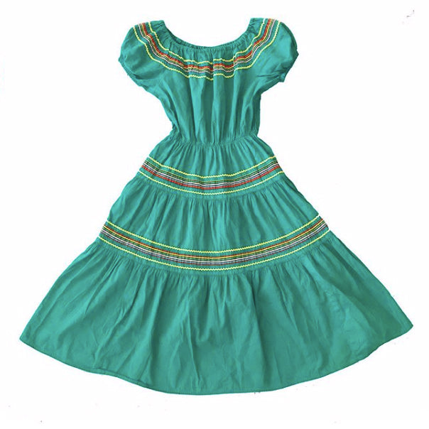 1950's Teal and Striped Patio Dress