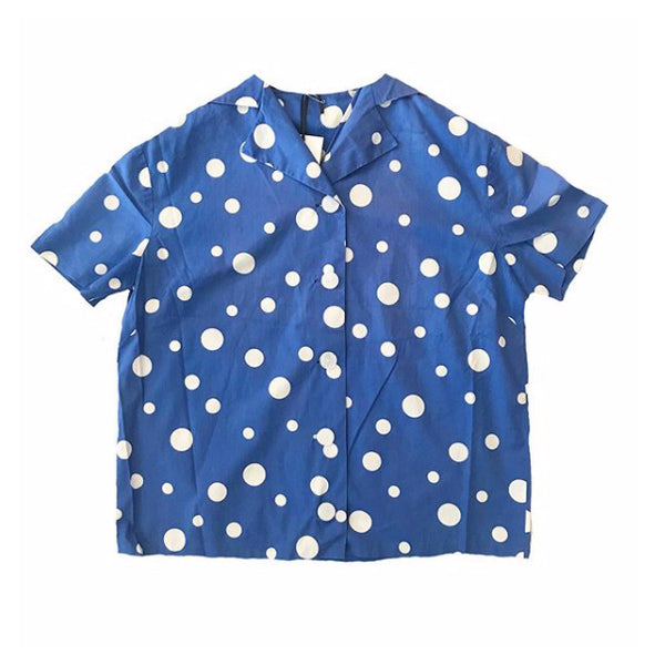 1950s French Blue and White Polka dot blouse