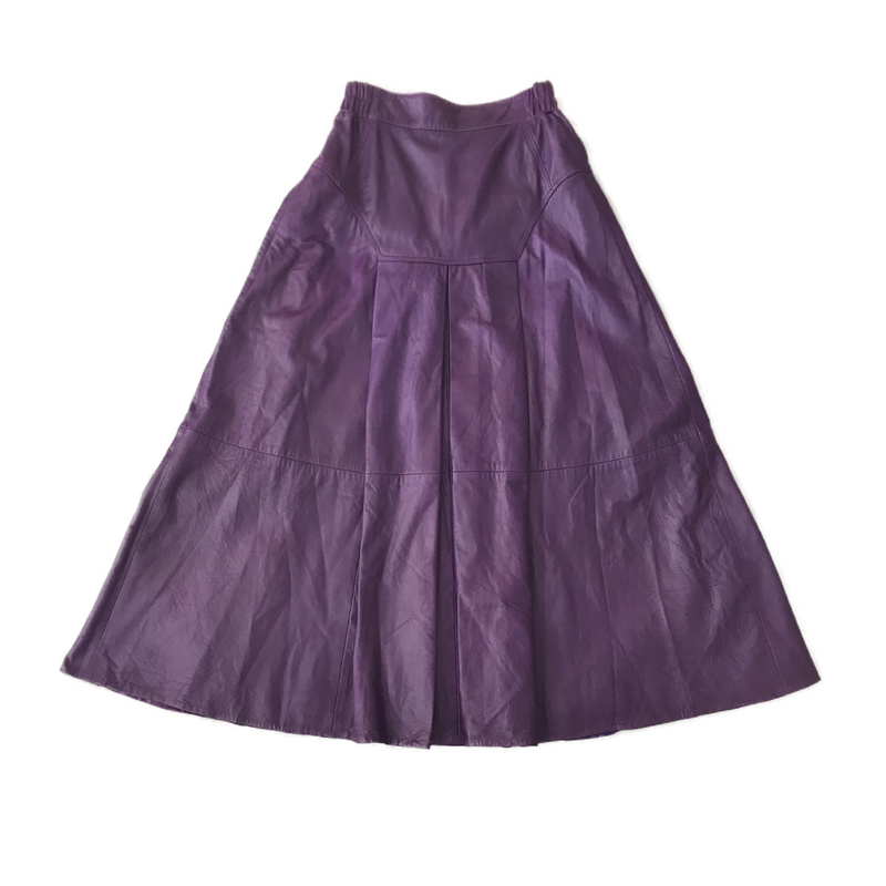 1980's Deadstock Purple Leather Maxi Skirt