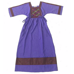 70s Embroidered Purple Cotton Dress
