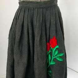 Black Burlap Circle Skirt with Embroidered Rose