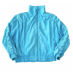 1980's Blue Jacket with Ruching Detail on Arms