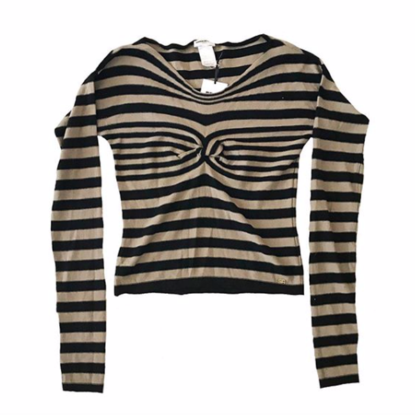 1980's Sonia Rykiel Black and White Striped Sweater