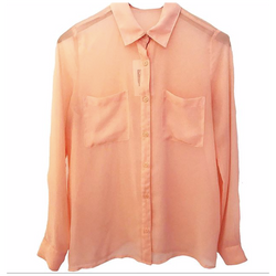 1970's Sheer Salmon Button-Up Blouse