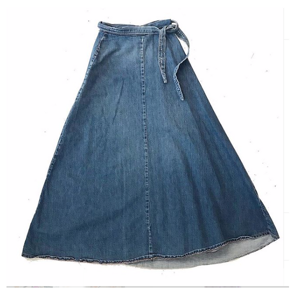 1970s Denim Wrap Maxi Skirt