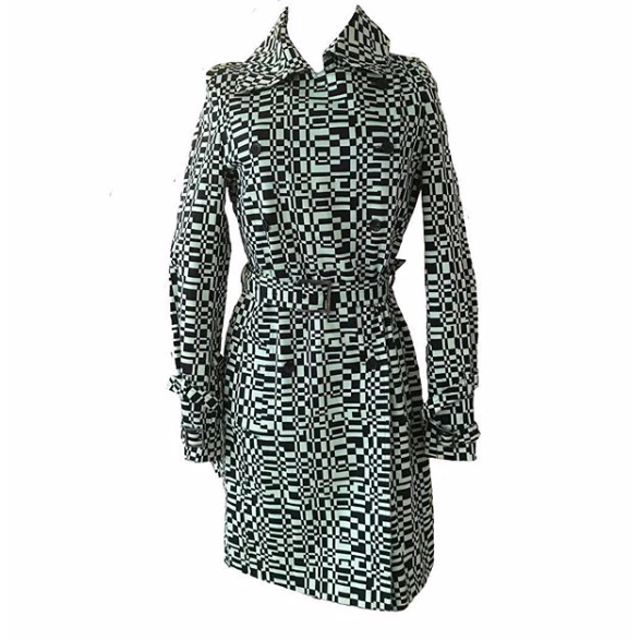 Vintage Mint Green and Black Print Trench Coat
