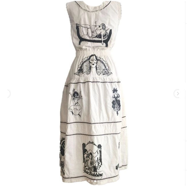 1950's White Dress with Embroidery