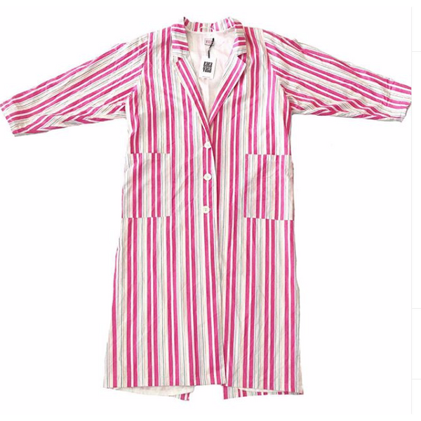 80's Pink and White Striped Duster