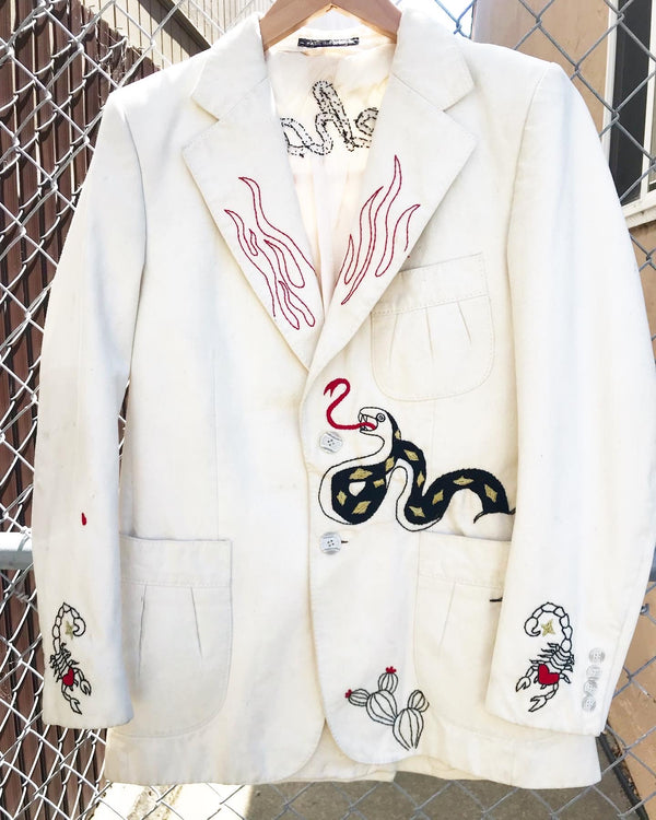 1970's Upcycled Cream Canvas Suit with Embroidery