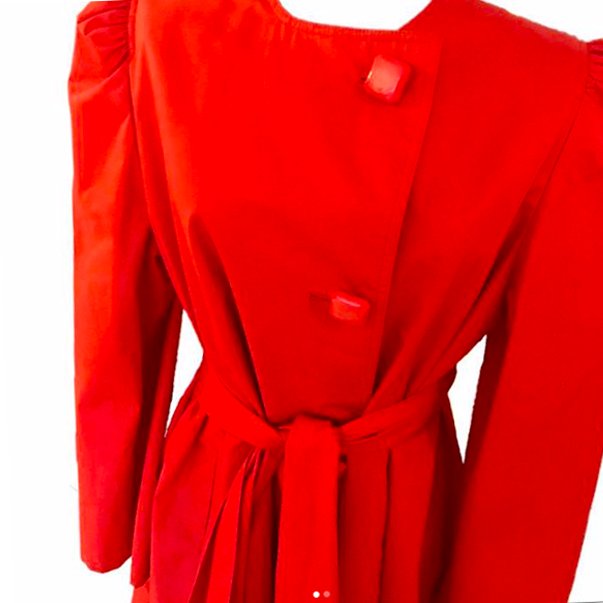 1980's Pauline Trigere Orange Coat with Puff Sleeves