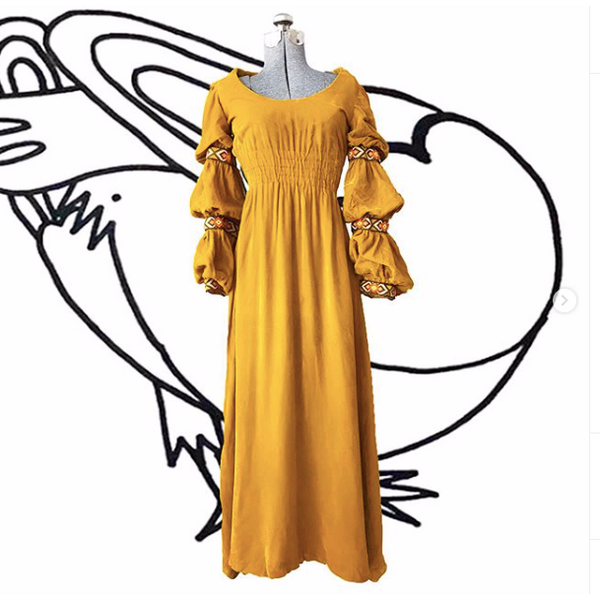 1970's Yellow Crushed Velvet Peasant Dress (Handmade)