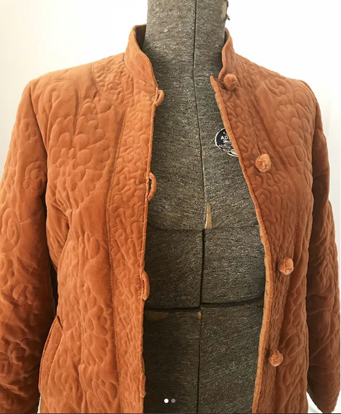 Burnt Orange Velvet Chinese Jacket