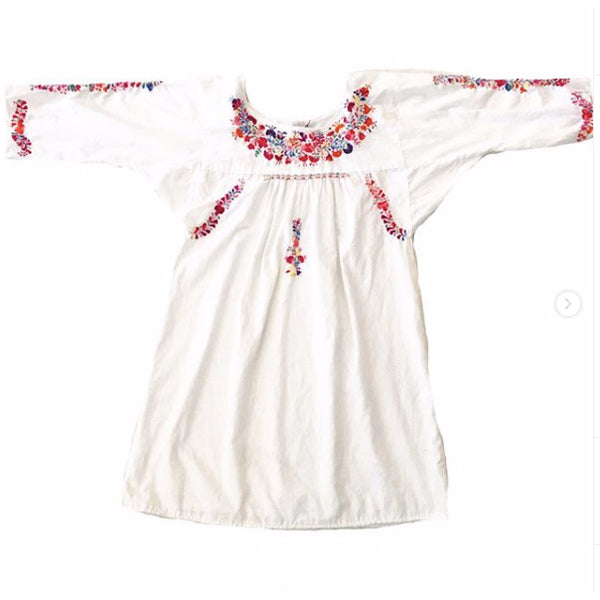 Vintage White Short Mexican Embroidered Dress