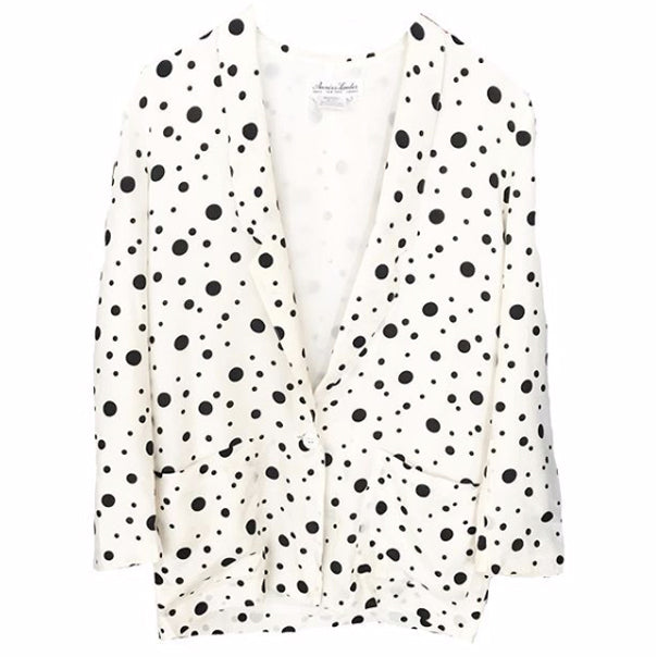 1980's White Silk Blazer with Black Polka Dots