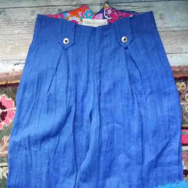 Wide Leg Linen Pants in Royal Blue by Hello My Goddess (front detail)