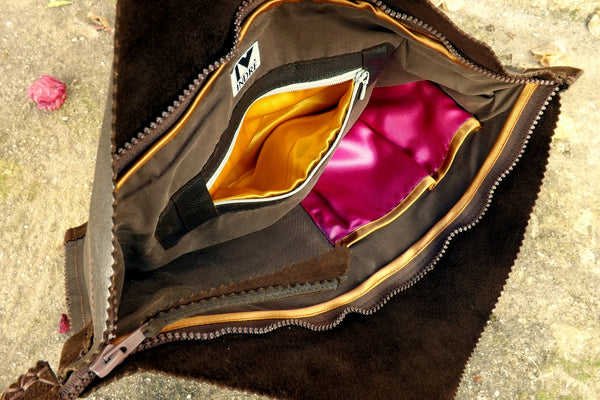 Big upcycled vintage leather clutch by Hello My Goddess (inside)