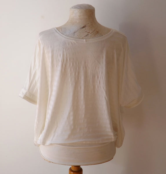Oversize TOP ivory silk cotton batwing sleeve top perfect for summer hot weather beach poolside