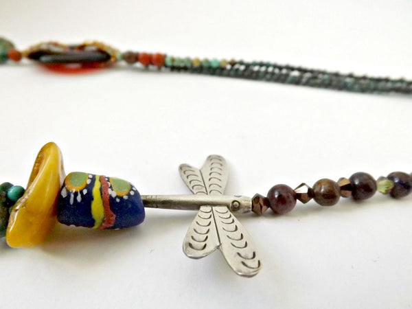 Dragonfly Goddess Necklace by Hello My Goddess (detail of silver dragonfly)