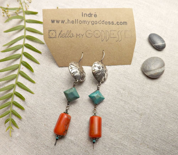 Hello My Goddess Coral , Turquoise, and Thai Hill Tribe silver statement earrings
