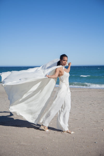 Hello My Goddess Big Romantic Cape in Ivory Linen