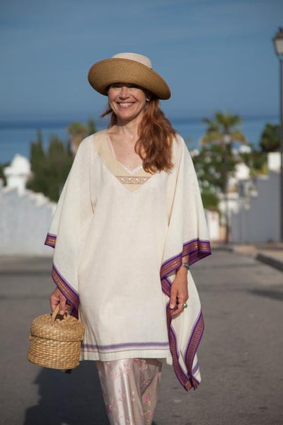Caftan made with Handwoven Indian Sari Cotton