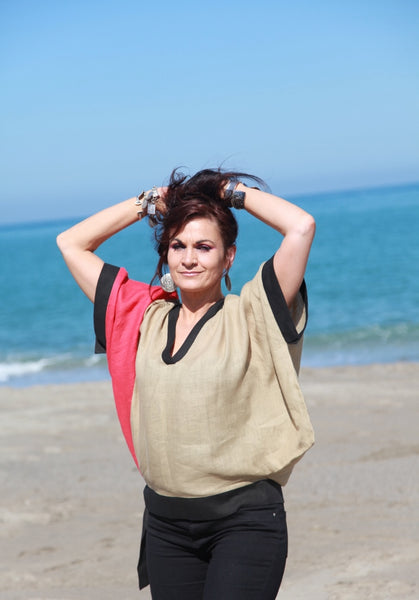 Breezy Linen Colorblock Top in Red, Black and Sandy Brown by Hello My Goddess