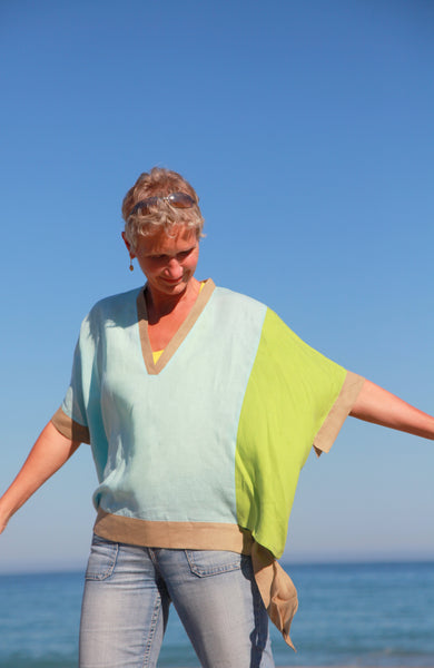 Breezy Linen Colorblock Top in Sky Blue and Lime Green by Hello My Goddess