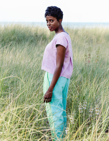 Burst of Color Linen Top in Lilac & Mint
