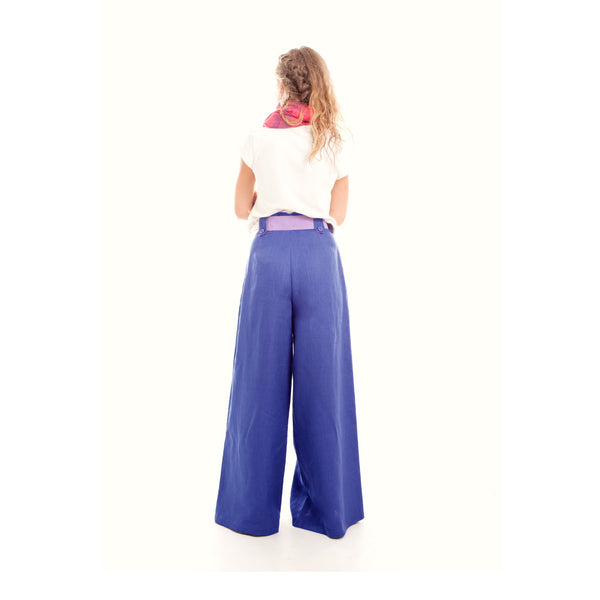 Wide Leg Linen Pants in Royal Blue by Hello My Goddess