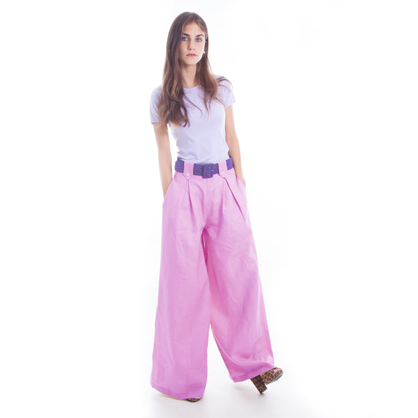 Wide Leg Linen Pants in Lilac by Hello My Goddess