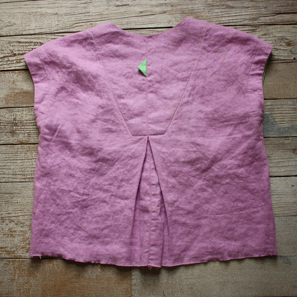 Burst of Color Linen Top in Lilac & Mint by Hello My Goddess (back)