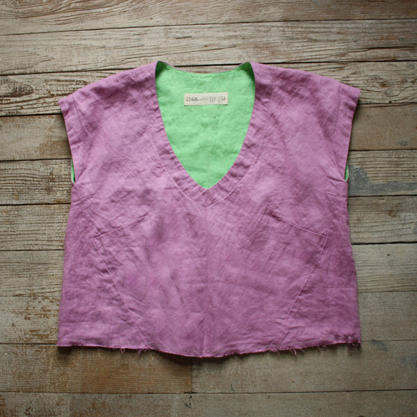 Burst of Color Linen Top in Lilac & Mint by Hello My Goddess