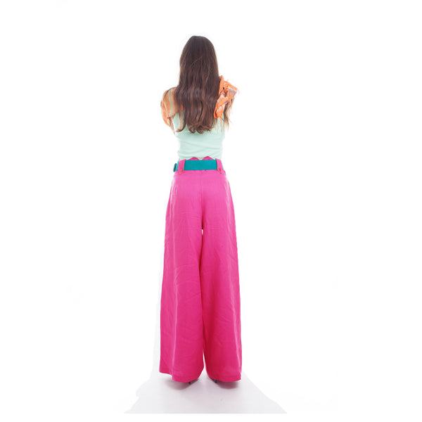 Hello My Goddess Wide Leg Linen Pants in Fuchsia (back view)