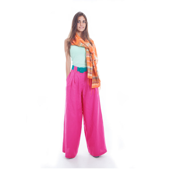 Hello My Goddess Wide Leg Linen Pants in Fuchsia