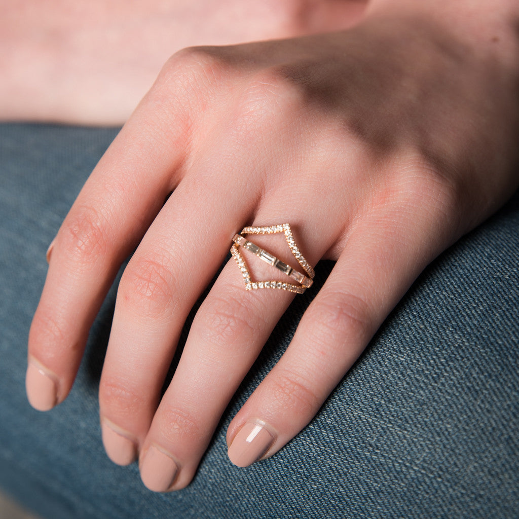 Chevron Baguette Ring – Galith Fine Jewelry
