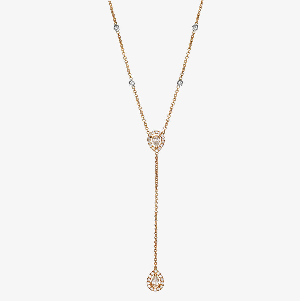 18K rose gold double pear drops diamonds necklace
