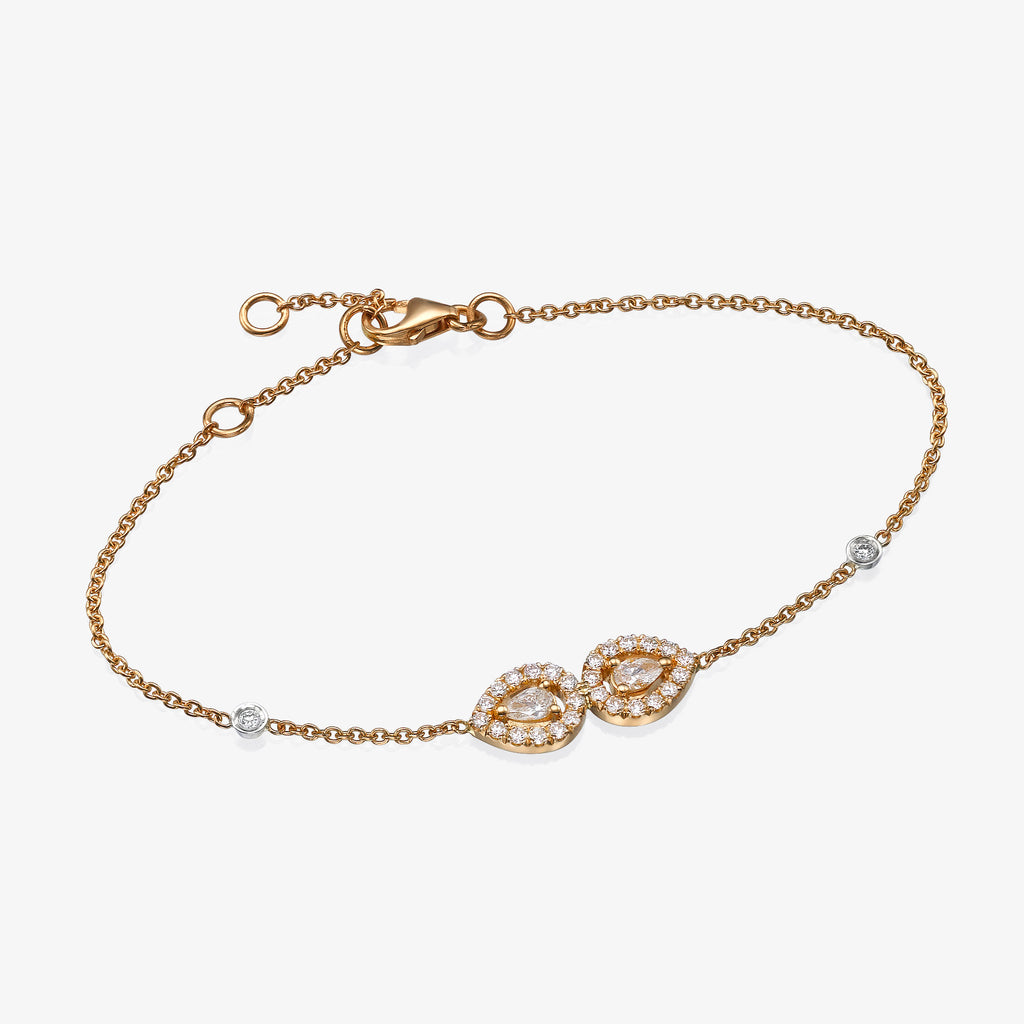 18K rose gold double pear diamonds bracelet