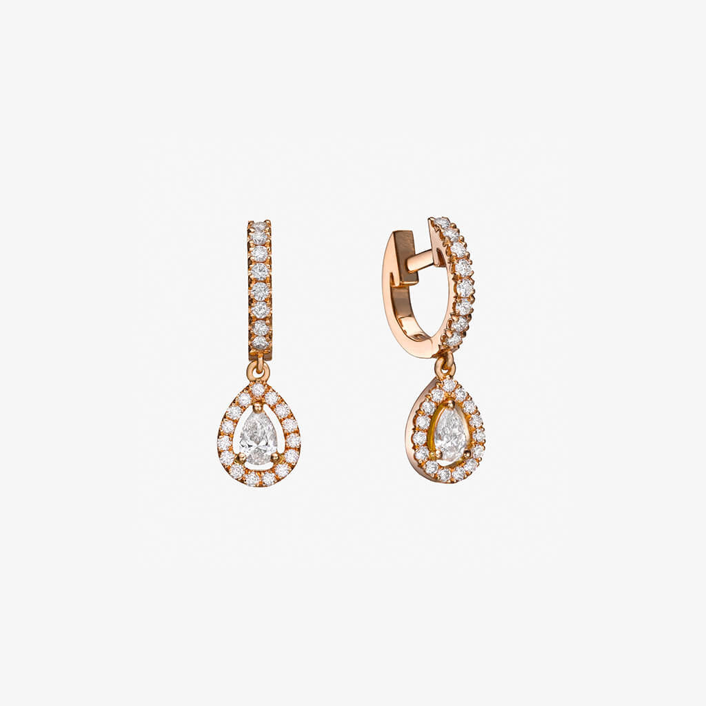 18K gold Pear shape diamond Earrings