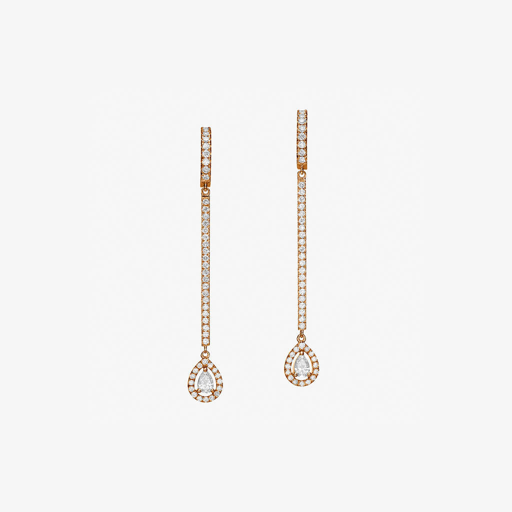 18K rose gold Pear shape diamond Earrings