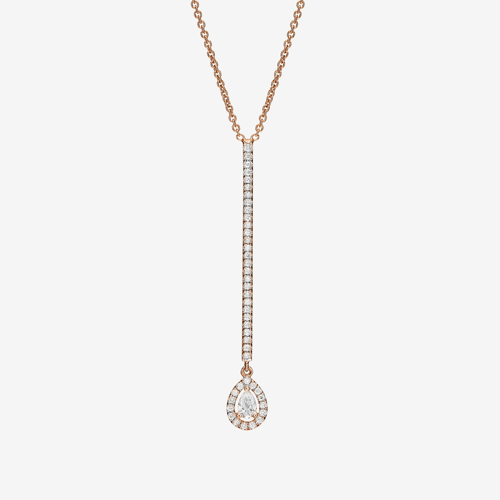 18K rose gold and diamonds bar necklace