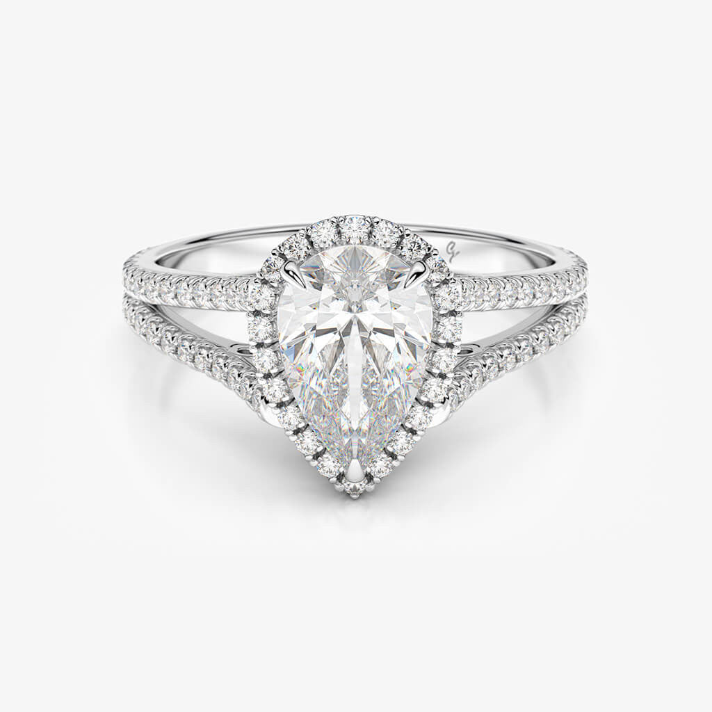 pave split halo ring cut silverman cushion rings shank basket diamond norman engagement
