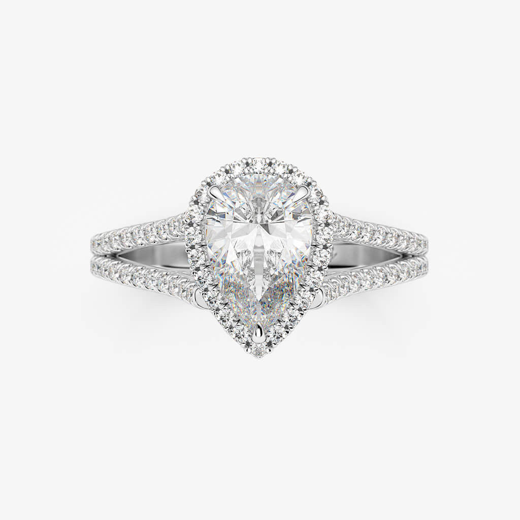 Double Band Pear Halo Engagement Ring
