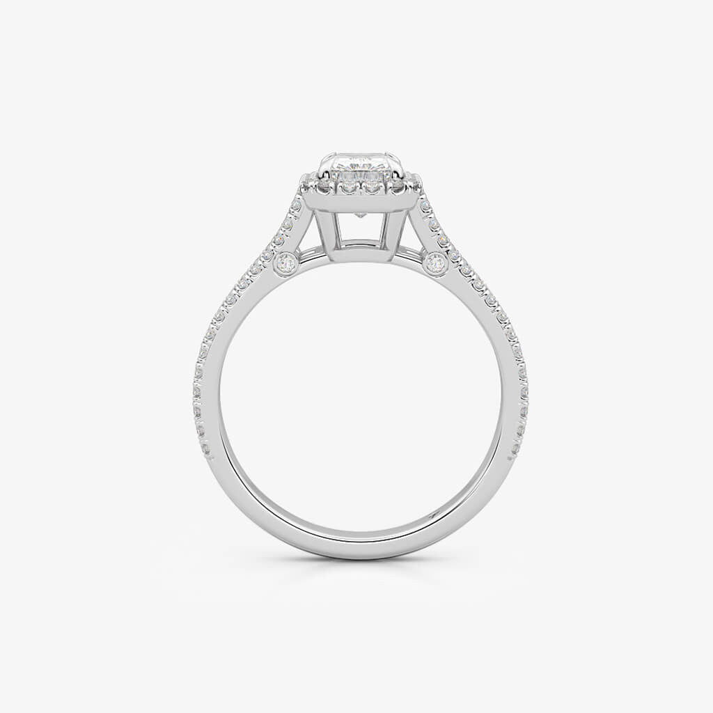 Double Band Radiant Halo Engagement Ring