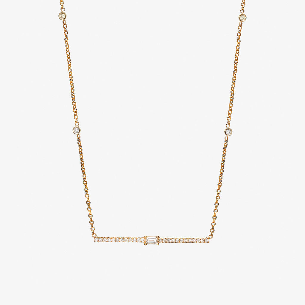 18K rose gold diamond bar with baguette Necklace