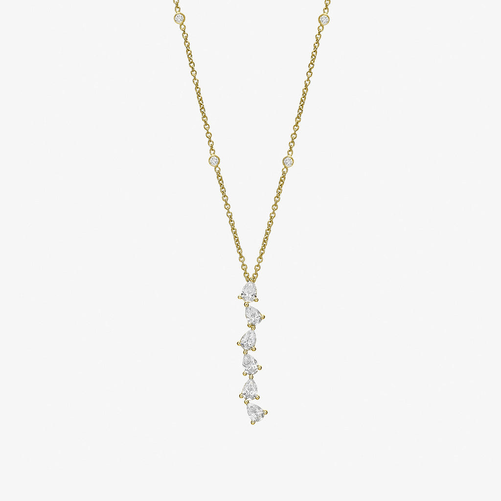 18K yellow gold floating pears diamonds Necklace