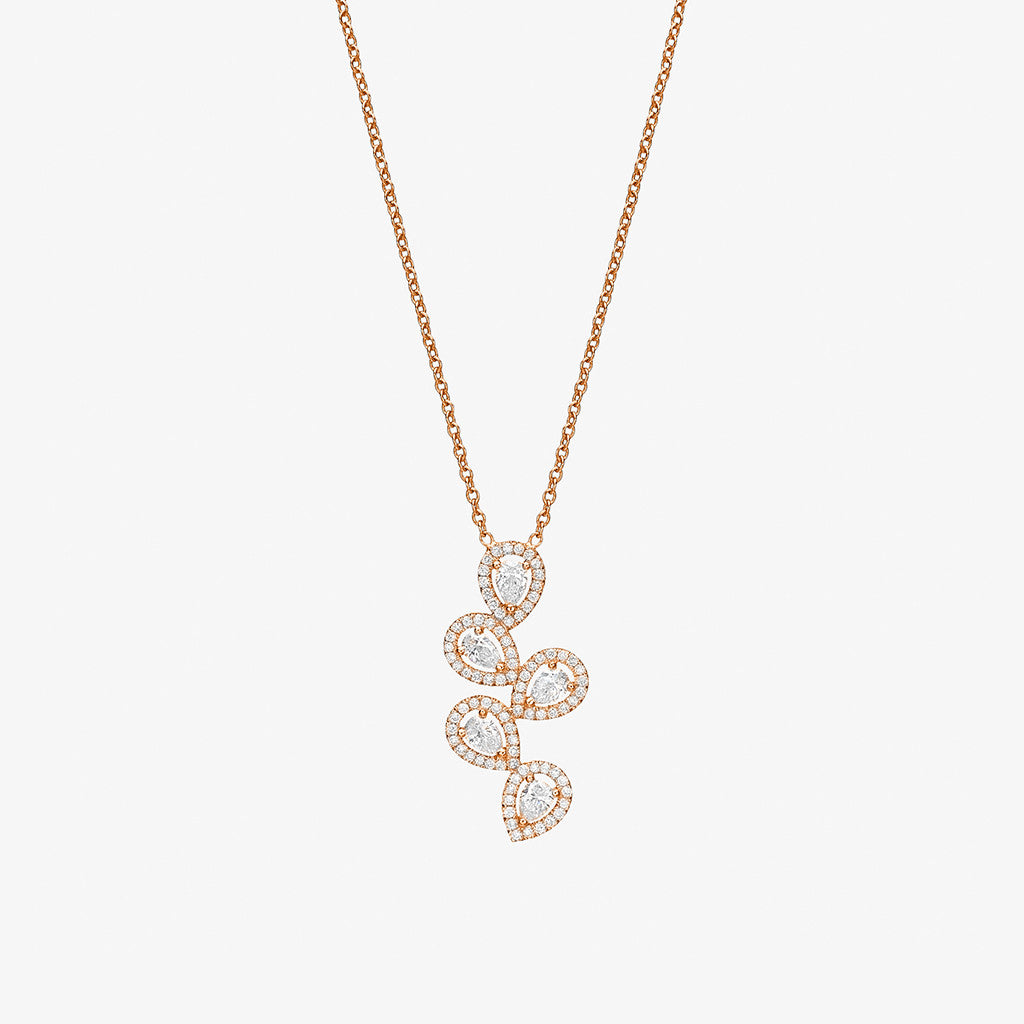 18K rose gold floating pears diamonds Necklace
