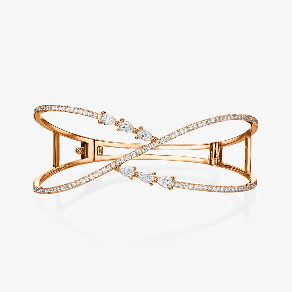 18K rose gold Pear shape diamond Bangle