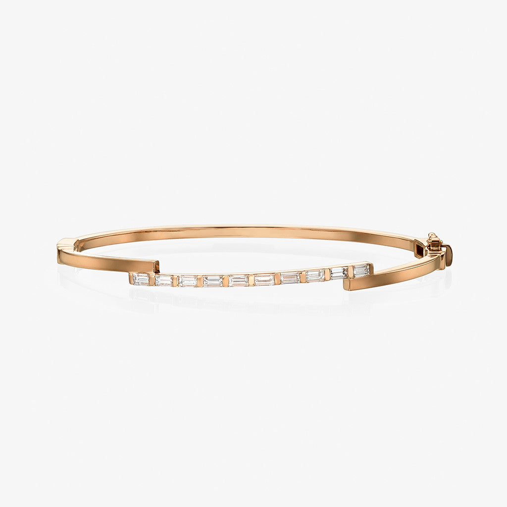 18K rose gold baguette diamond Bangle