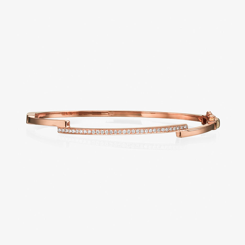 18K rose gold diamonds bangle